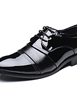 Men's Shoes Leather Fall Winter Formal Shoes Comfort Oxfords Lace-up For Office & Career Party & Evening Black