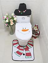 3Pcs/Set  Santa  Ornament  Snowman Toilet Seat Cover Rug Bathroom Mat Set Christmas Xmas Decoration For Home