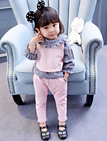 Girls' Others Solid Sets,Cotton Spring Fall Clothing Set