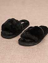 Girls' Shoes Feather/ Fur Summer Fall Fur Lining Slippers & Flip-Flops For Casual Wine Red Gray Black