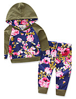 Boys' Solid Floral Print Sets,Cotton Polyester Spring Fall Long Sleeve Clothing Set