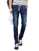 Men's Mid Rise Micro-elastic Skinny Jeans PantsSimple Slim Solid WL-8137