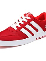 Women's Shoes PU Fall Winter Comfort Sneakers Flat Heel Round Toe Lace-up For Casual Red Black White