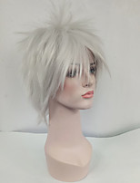 Women Synthetic Wig Capless Short Straight Silver Side Part With Bangs Cosplay Wig Costume Wig