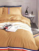 Duvet Cover Sets Solid 4 Piece Polyester Reactive Print Polyester 4pcs (1 Duvet Cover, 1 Flat Sheet, 2 Shams)