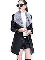 Cappotto di pelliccia Da donna Casual Semplice Inverno,Tinta unita Colletto alla Peter Pan PU (Poliuretano) Lungo Manica lunga
