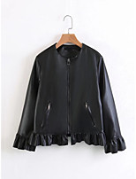 Women's Going out Casual/Daily Simple Street chic Spring Fall Leather Jacket,Solid Stand Long Sleeve Short Others