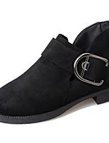 Для женщин Обувь Полиуретан Осень Армейские ботинки Ботинки Блочная пятка Квадратный носок Ботинки Пряжки Назначение Повседневные Черный