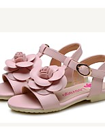 Girls' Shoes Leatherette Summer Comfort Flower Girl Shoes Sandals Flower For Wedding Dress Light Blue Blushing Pink