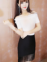 Women's Going out Simple Summer Shirt Skirt Suits,Solid Boat Neck Short Sleeve