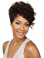 Women Synthetic Wig Capless Short Curly Black/Medium Auburn Dark Auburn For Black Women Pixie Cut Asymmetrical Haircut Celebrity Wig