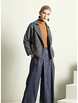 Women's Going out Street chic Fall Jacket,Solid Shirt Collar Long Sleeve Regular Cotton