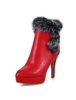 Femme Chaussures Plume / Fourrure Similicuir Printemps Automne Confort Doublure fluff Bottes Talon Aiguille Bout pointu Bottine/Demi Botte