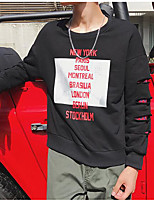 Men's Casual/Daily Sweatshirt Print Letter Round Neck Micro-elastic Cotton Polyester Long Sleeve Fall