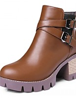 Femme Chaussures Polyuréthane Automne Hiver Bottes à la Mode Bottes Gros Talon Bout rond Bottine/Demi Botte Boucle Pour Décontracté Noir