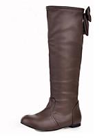 Feminino Sapatos Couro Ecológico Outono Inverno Conforto Inovador Botas da Moda Botas Rasteiro Ponta Redonda Botas Cano Médio Laço Para