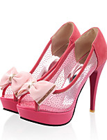 Women's Shoes PU Net Summer Fall Comfort Novelty Heels Stiletto Heel Peep Toe Bowknot For Wedding Party & Evening Blushing Pink Beige