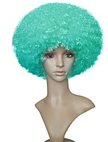 Mulher Perucas sintéticas Sem Touca Curto Jheri Curl Verde Peruca de Halloween Peruca para Cosplay Peruca Natural Peruca de Festa Peruca
