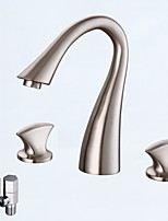 Contemporary Widespread Ceramic Valve Two Handles Three Holes for  Nickel Brushed , Bathroom Sink Faucet
