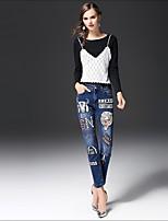 T-shirt Da donna Per uscire Casual Semplice Primavera Autunno,Monocolore Rotonda Cotone Altro Manica lunga Medio spessore