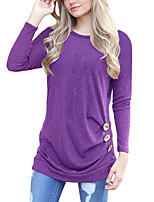 Women's Holiday Casual/Daily Street chic Fall T-shirt,Solid Round Neck Long Sleeves Polyester