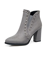 Women's Shoes Nubuck leather Fall Winter Comfort Boots Chunky Heel Pointed Toe Rivet For Outdoor Office & Career Red Gray Black