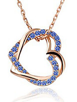 Women's Pendant Necklaces Heart Rhinestone Alloy Love Elegant Jewelry For Party Gift
