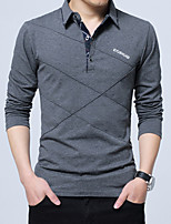 Men's Casual/Daily Work Simple Fall Winter Polo,Solid Shirt Collar Long Sleeves Cotton Acrylic Thick