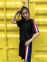 Damen Solide Einfach Ausgehen T-Shirt-Ärmel Hose Anzüge,V-Ausschnitt Sommer Kurzarm