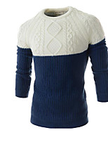 Men's Casual/Daily Regular Pullover,Color Block Round Neck Long Sleeves Others Winter Thick Micro-elastic