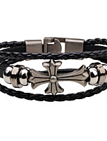 Men's Leather Bracelet Fashion Vintage Leather Alloy Circle Cross Jewelry For Casual Street