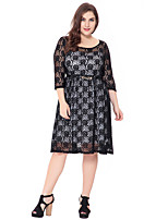 Women's Party Plus Size Going out Casual/Daily Vintage Simple Sophisticated Bodycon Sheath Lace Dress,Solid Jacquard Round Neck