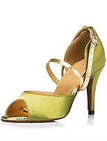 Women's Latin Satin Sandal Heel Professional Buckle Customized Heel Green 1