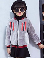 Girls' Stripes Suit & Blazer,Faux Fur Polyester Nylon Fall Winter Long Sleeve