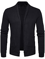 Men's Going out Casual/Daily Simple Regular Cardigan,Solid Shirt Collar Long Sleeves Cotton Spring Fall Medium Stretchy