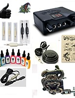 Starter Tattoo Kit 1 alloy machine liner & shader Tattoo Machine LED power supply 7 × 15ml Tattoo Ink 5 x disposable grip