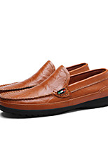 Men's Shoes Leather Fall Driving Shoes Comfort Loafers & Slip-Ons For Casual Outdoor Dark Brown Brown Dark Blue Black