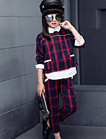 Girls' Print Plaid Sets,Cotton Polyester Spring Fall Long Sleeve Clothing Set