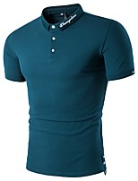Men's Sports Casual/Daily Simple Active Polo,Solid Round Neck Short Sleeves Polyester