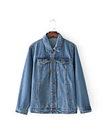 Women's Going out Casual/Daily Simple Spring Fall Denim Jacket,Print Shirt Collar Long Sleeve Regular Others Embroidered