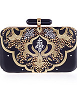 Women Bags All Seasons Polyester Evening Bag Appliques Crystal Detailing for Wedding Event/Party Black