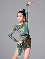 Latin Dance Dresses Children's Ice Silk Pattern/Print 1 Piece Long Sleeve Dress