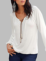 Women's Casual/Daily Sexy Spring Fall T-shirt,Solid V Neck Long Sleeves Cotton Medium