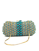 Women Bags Spring Fall Metal Evening Bag Crystal Detailing for Event/Party Blue Red