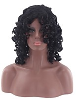 Women Synthetic Wig Capless Medium Curly Loose Wave Black Party Wig Halloween Wig Cosplay Wig Natural Wigs Costume Wig