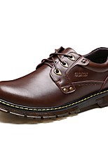Men's Shoes Leather Spring Fall Comfort Oxfords Booties/Ankle Boots Lace-up For Casual Office & Career Dark Brown Black