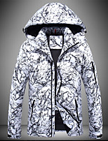 Men's Regular Down Coat,Sexy Simple Street chic Going out Casual/Daily Camouflage-Polyester Polypropylene White Duck Down Long Sleeves