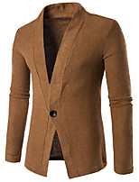 Men's Casual/Daily Regular Cardigan,Solid V Neck Long Sleeves Others Spring Winter Medium Micro-elastic