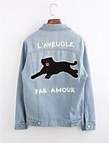 Women's Going out Simple Winter Denim Jacket,Print Shirt Collar Long Sleeve Regular Cotton