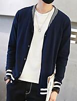 Standard Cardigan Da uomo-Per eventi Monocolore A V Manica lunga Altro Primavera Autunno Medio spessore Media elasticità